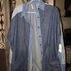 Medium over sized denim jacket NWT Free people
